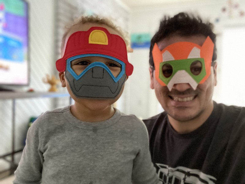Daddy and I got these cool masks