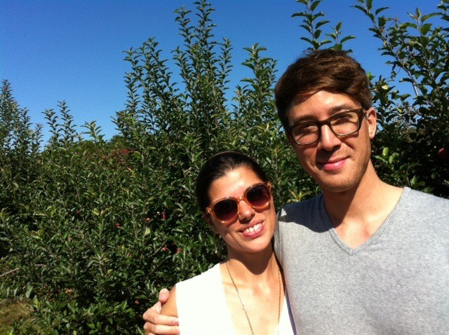 Every year we go apple picking with our families. Here we are on a warm sunny September day!
