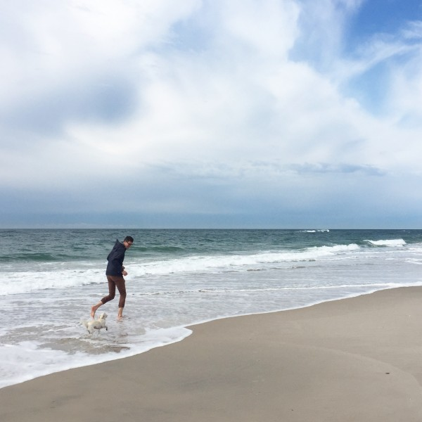 Runs with our little pup at our local beach. We all love the beach.