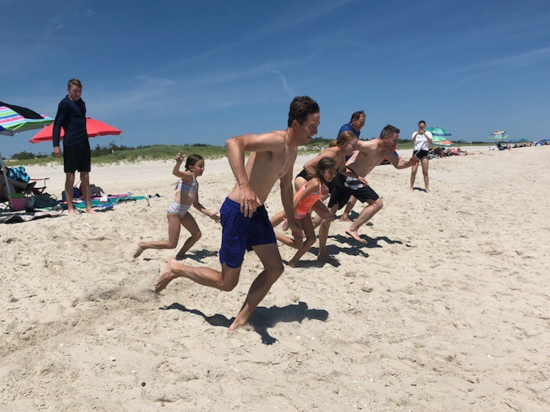 We do a family reunion every summer with David's family. Every year there is a sprint race across the beach. :)