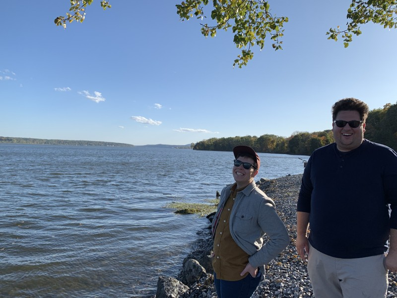 Enjoying some time on the shore of the Hudson River