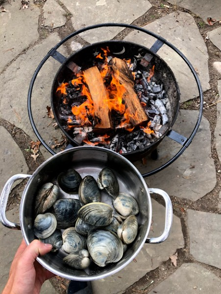 It's not unusual for us to gather mussels or clams from the bay and cook them over a fire for a lunch.