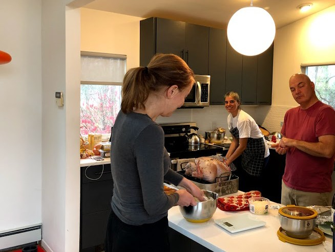 Many hands make light work! Some pajama Thanksgiving cooking. :)