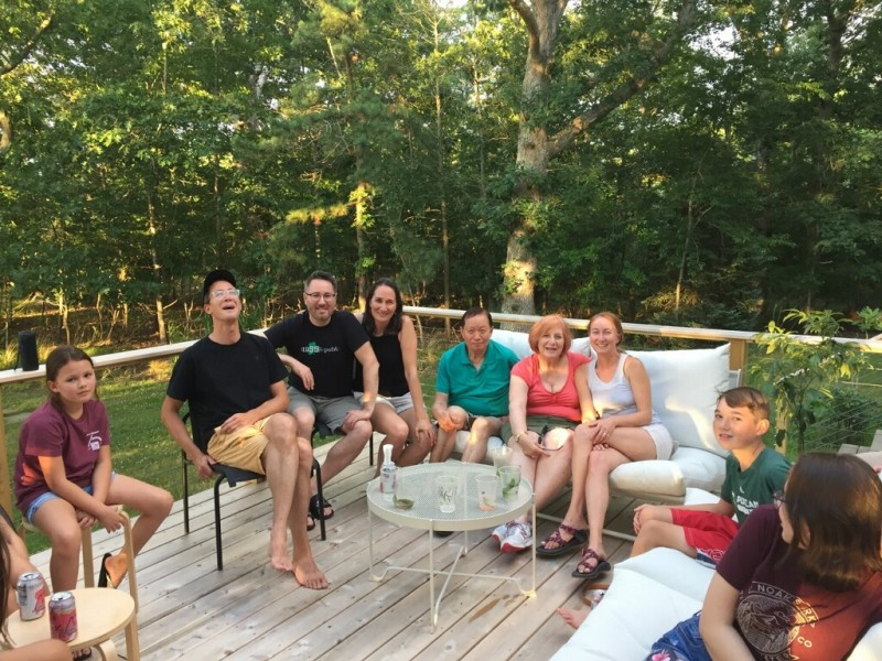 We're so lucky to enjoy a close relationship with our families. We get together with David's whole family—all 21 of us!—every summer for a family vacation.