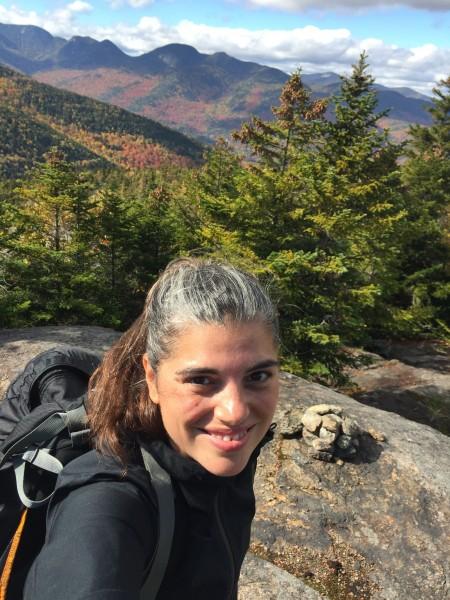 High a top a mountain during a hiking trip.