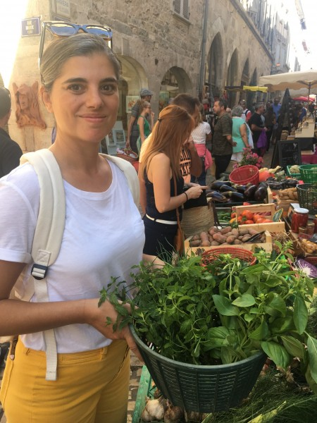 Aeriel is an excellent chef. Here she is at a farmer's market in France in the town where our friends live.