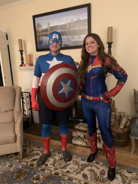 Heading to a family halloween party as captain america and captain marvel