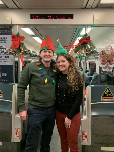 Volunteering as elves on our neighborhood polar express