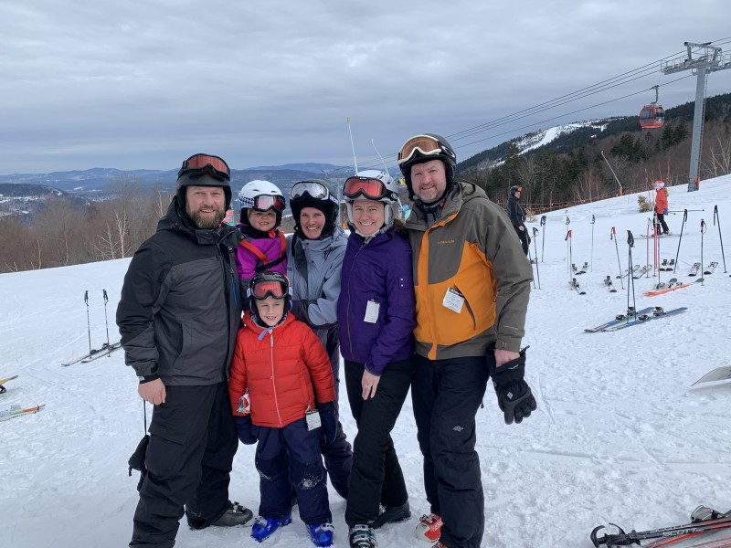 Enjoying a ski weekend with a sister and her family