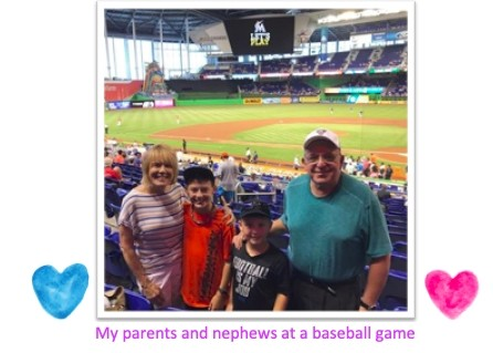 My parents and nephews at a baseball game