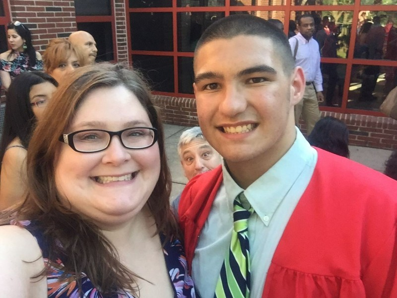 Aunt Laura and Jared at Middle School graduation