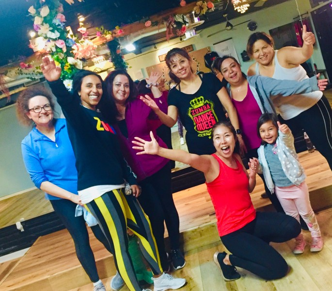 Kay enjoying time after class with her Zumba friends