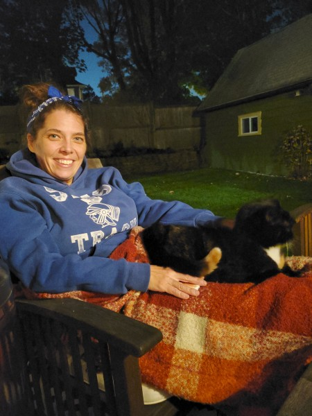 Joanna and Cinder enjoying our back deck!