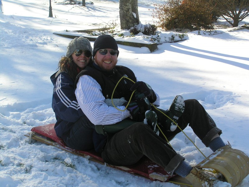 Sledding on a trip to visit Joanna's parents!
