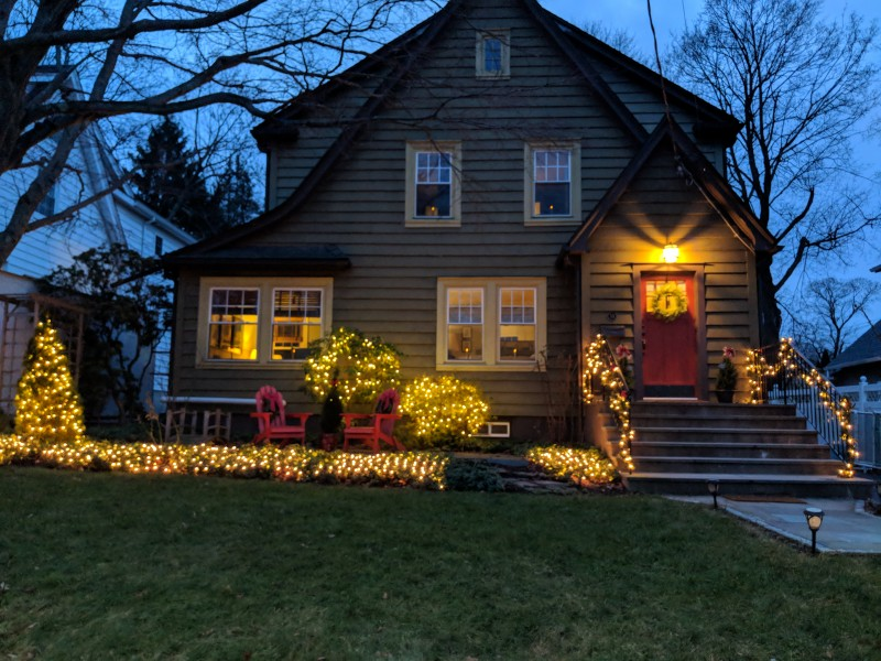 Love our house with the lights.