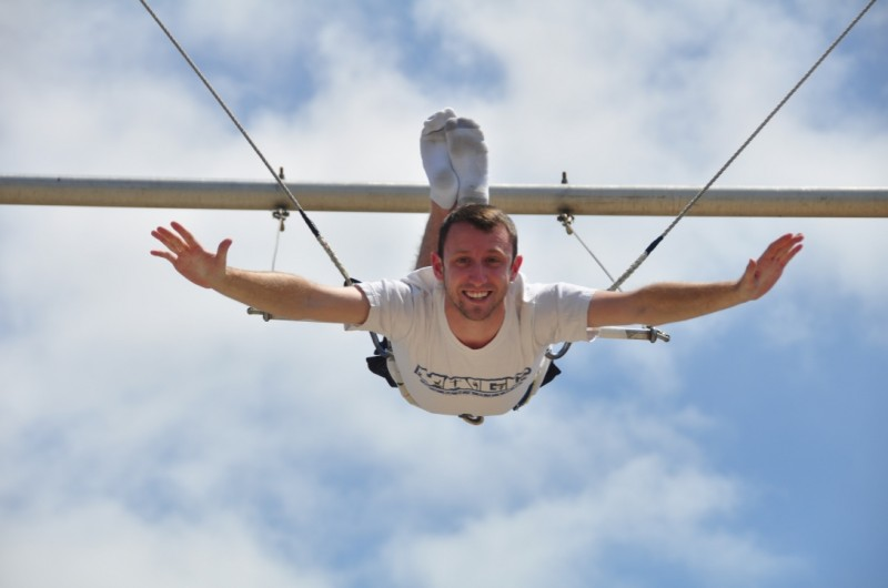 Flying high on the trapeze