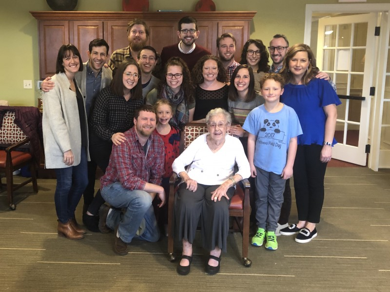Jonathan's cousins celebrating his grandmother's 90th birthday
