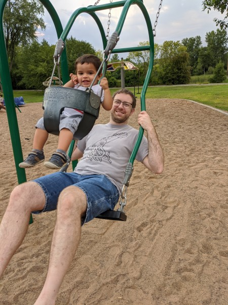 Scott and Quinton on a double swing