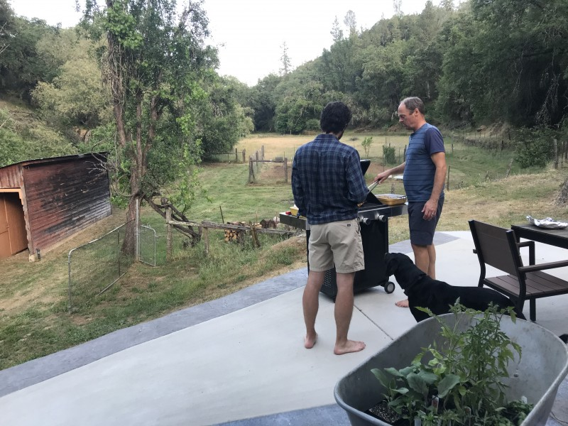 Andy and Kirsten's dad BBQing at the ranch (2020)