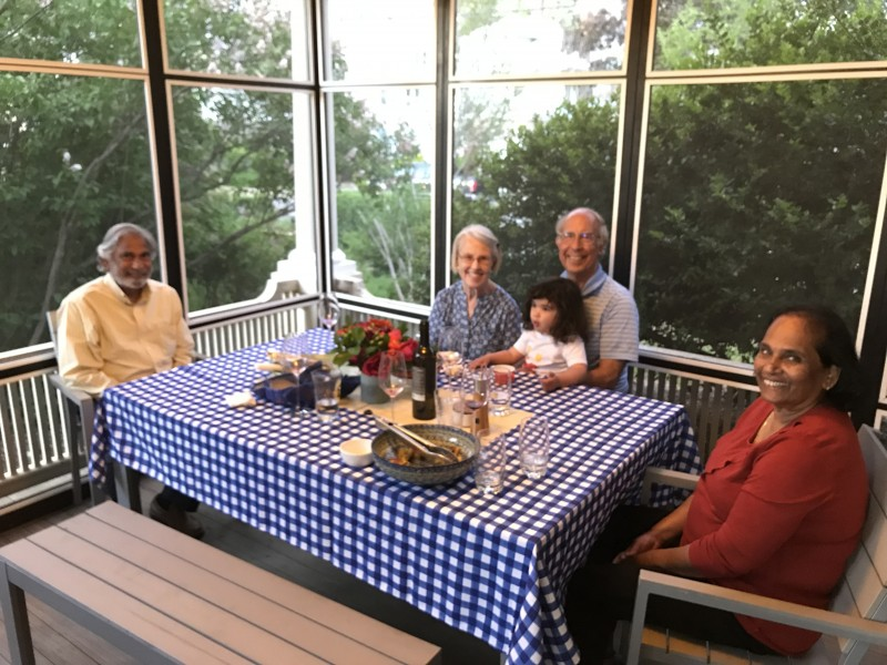 porch dinner with grandparents