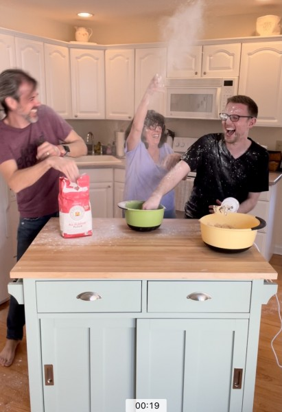 Making cookies with Mark's mom turns food fight! :)