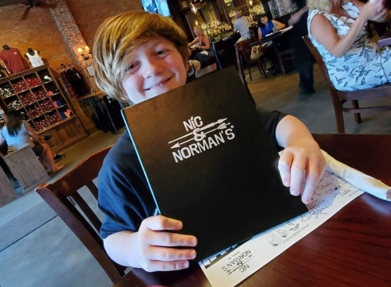 Parker at norman reedus' restaurant on walking dead set