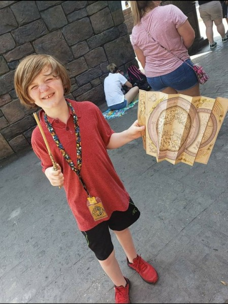 parker in harry potter land at universal studios