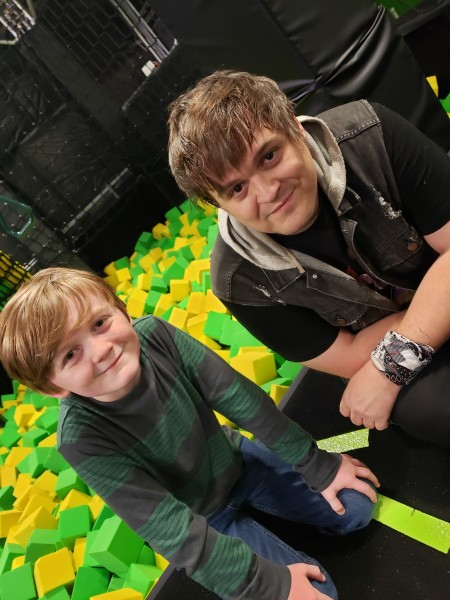 Paul and Parker at a trampoline park