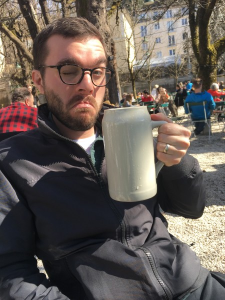 Enjoying a beer under the Alps on our honeymoon