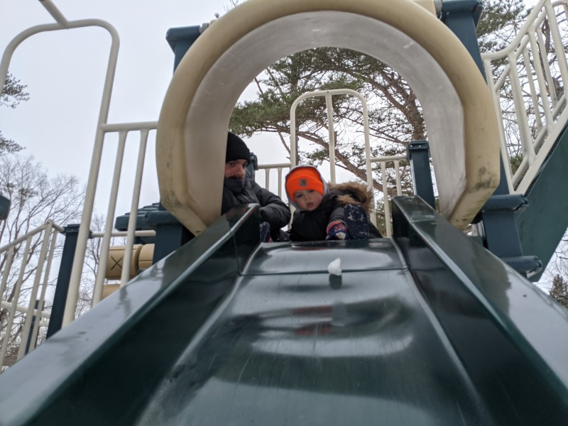 When sliding snow down the slide is more fun