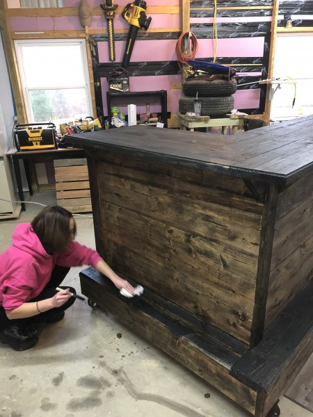 Staining the bar my very talented husband built