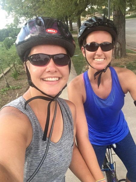 Biking with Chelsey's sister