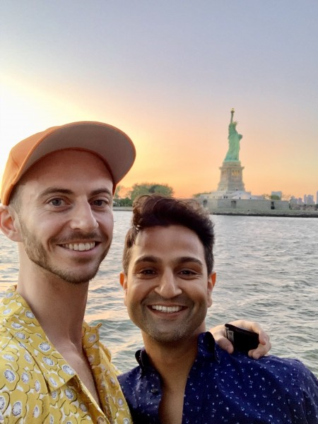 Dev and Marc at a concert on a boat on the Hudson River