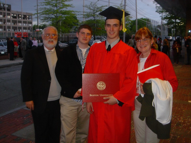 Seamus with his parents at his graduation from Boston University