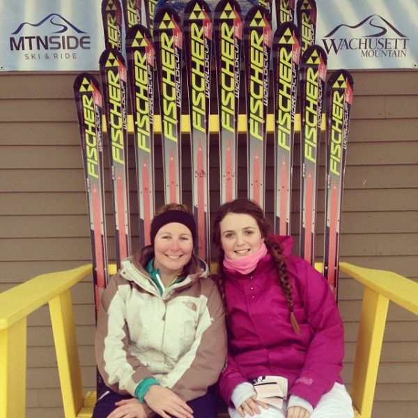 Kate and her sister on a ski trip
