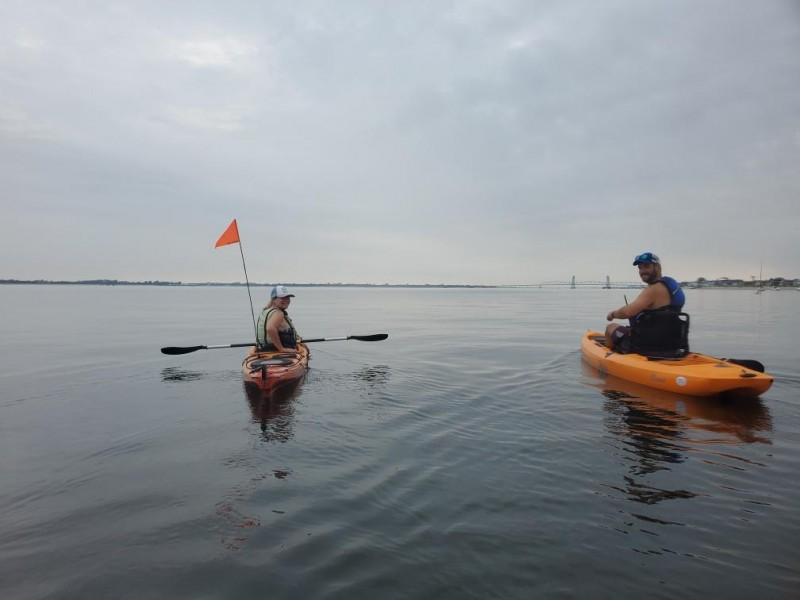 Kate and Seamus kayaking near our home