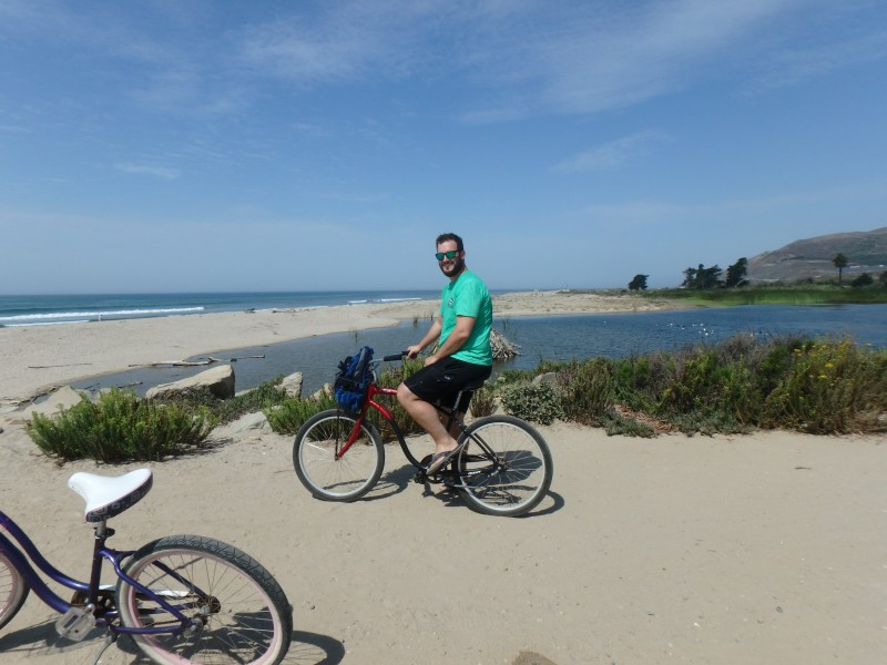 Biking along the beach in California