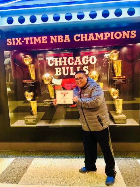 Mark attended his first Bulls game when we went to Chicago to meet Megan's family