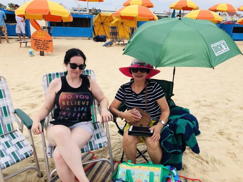 Megan and Mark's mom at the beach