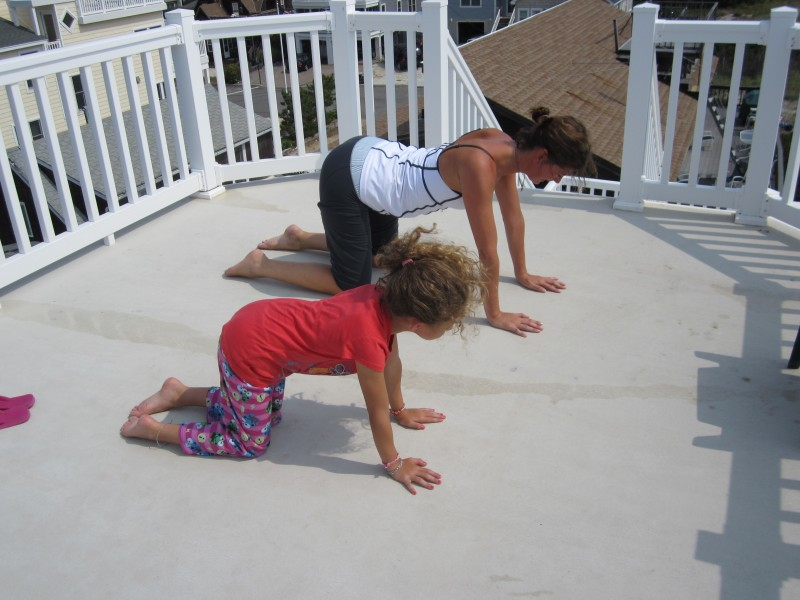 Lyn and her niece Emma doing yoga