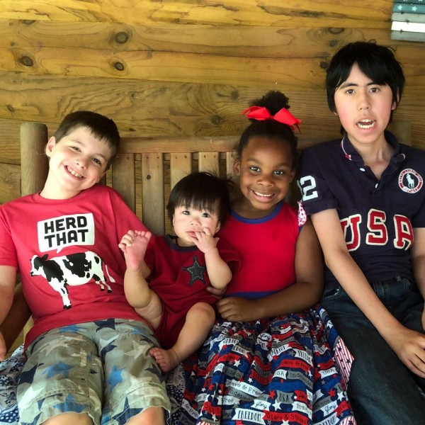 Kids on the porch