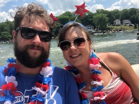 All dressed up for the 4th of July boat parade!