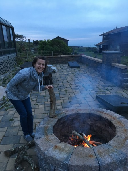After many years as a camp counselor, Kate is a pro at setting up a campfire.