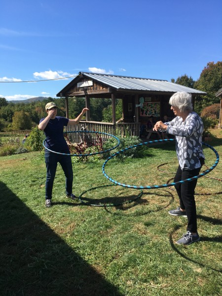 There is an apple orchard just up the street from our house. Abby and her mom spent some time hula-hooping there during her last visit.