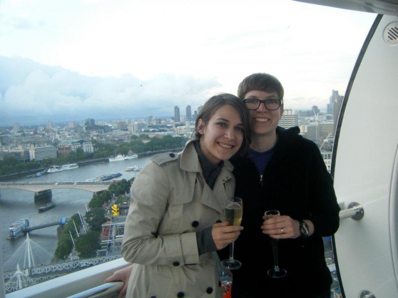 We went to London on our honeymoon. This is us in the 'London Eye' (the GIANT ferris wheel).