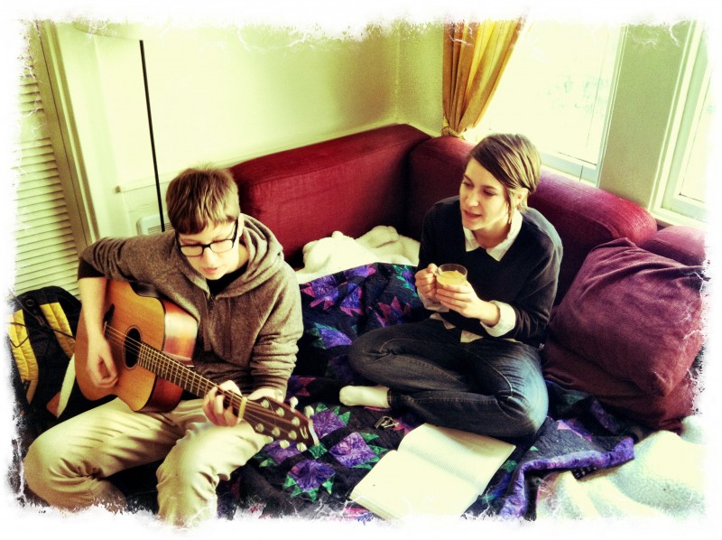 We love to listen to and play music. A friend captured this photo a few years ago.