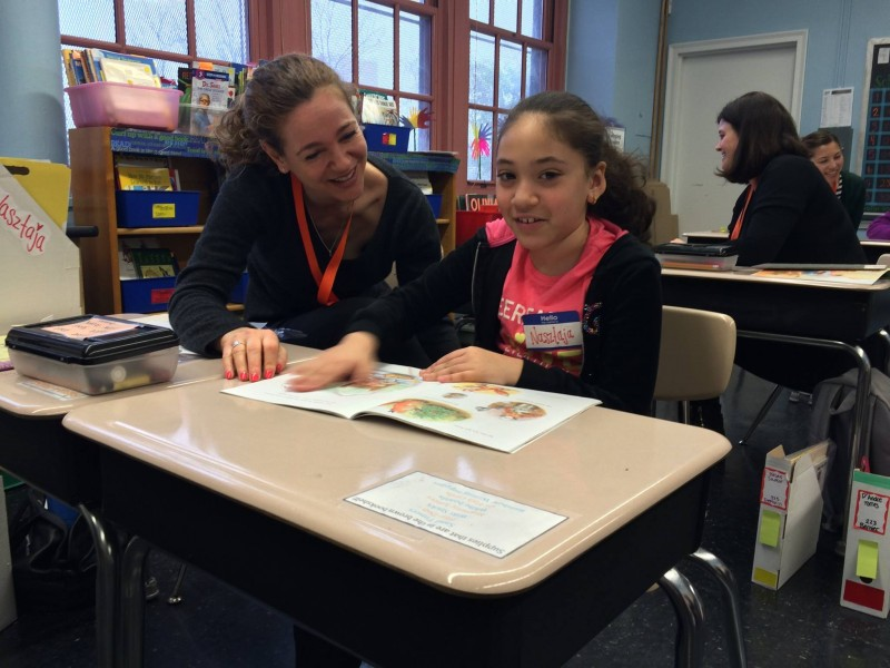Katy volunteering as part of a reading program