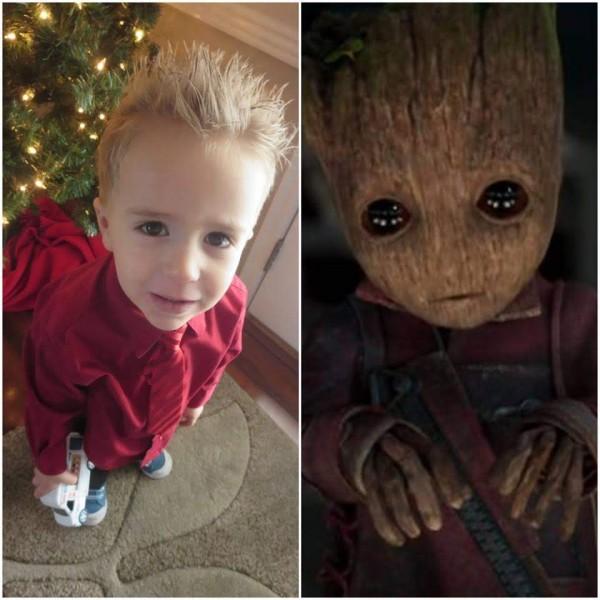 Kayson looks like baby Groot. Awww
