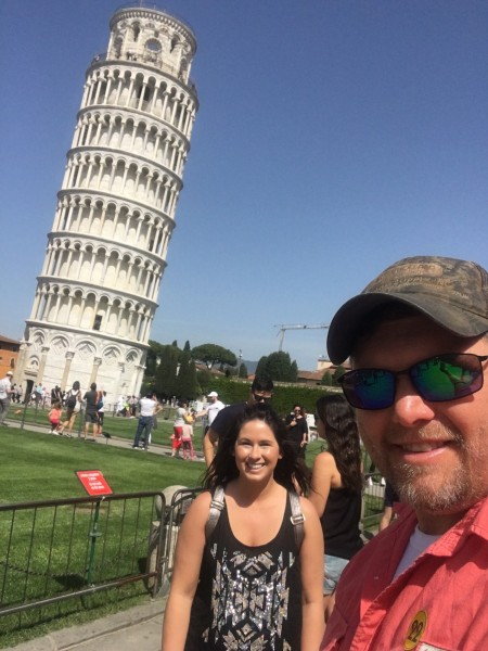 We went to the Leaning Tower of Pisa on our honeymoon!