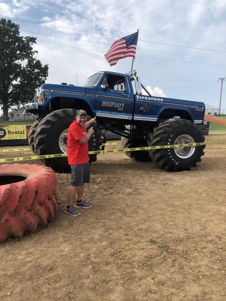 Josh gets excited about big trucks!